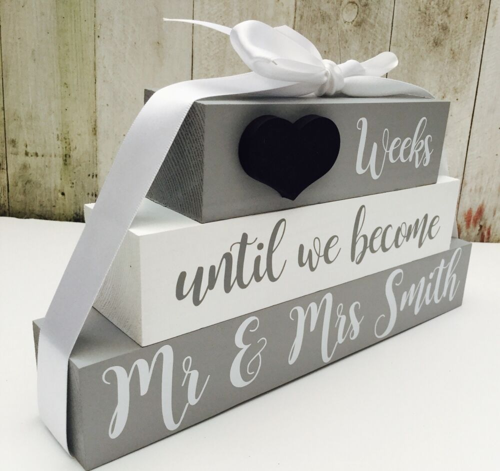 Wedding Countdown Gifts For Bride: Personalised Wedding Countdown Chalkboard Sign Plaque
