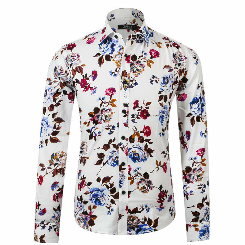 Vintage Mens Floral Shirt Slim Fitted Long Sleeve Paisley