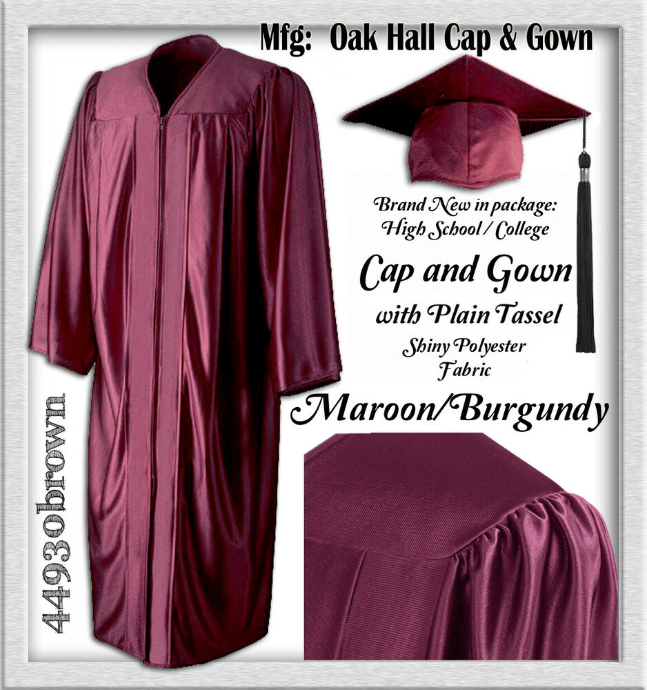 NEW Shiny Maroon - Burgundy Poly CAP, GOWN, Plain Tassel- Graduation ...
