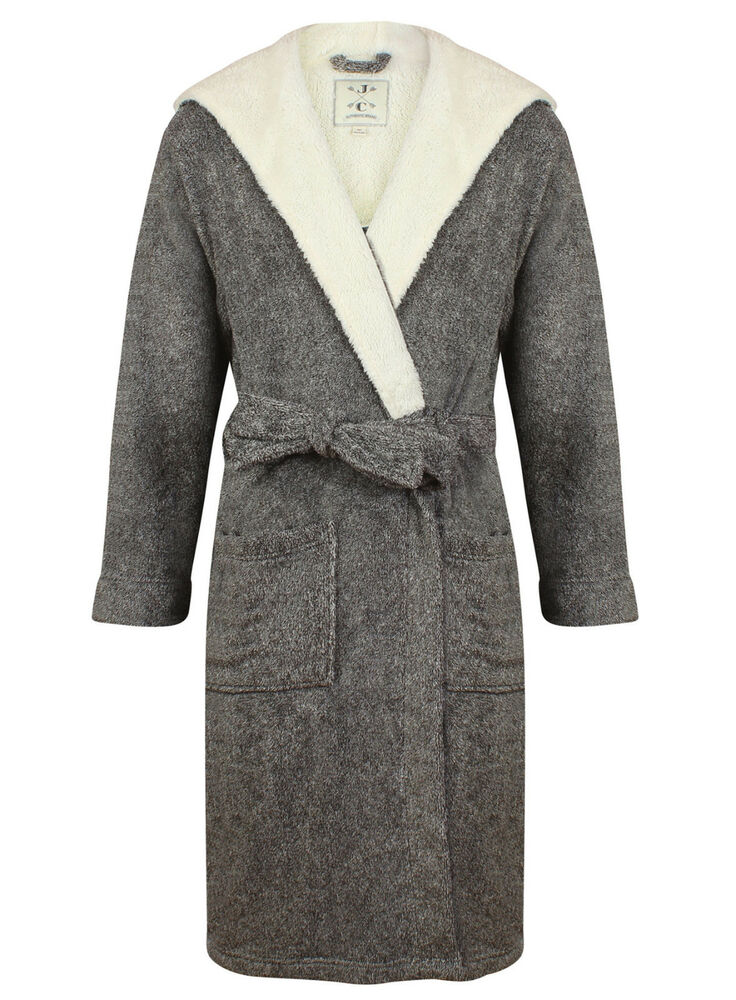 men 39 s super soft hooded robe gray marl sizes available ebay. Black Bedroom Furniture Sets. Home Design Ideas