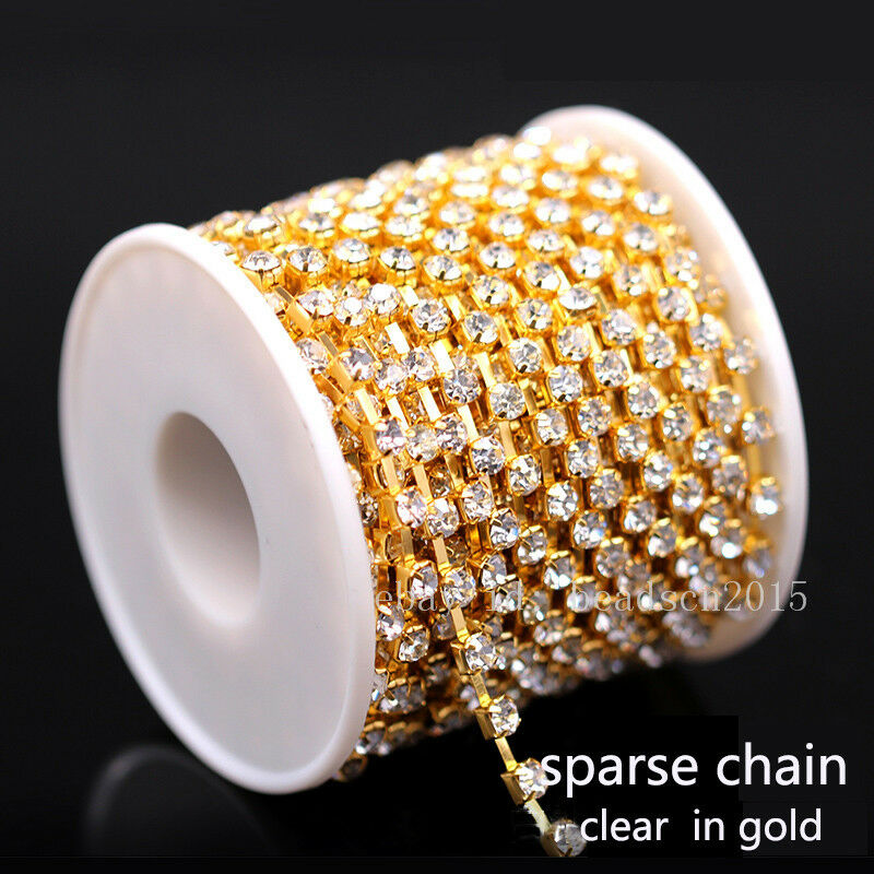 Details about 1 10Yards SS6-ss38 Crystal Clear golden Base cup Chain  Rhinestones trims wedding 29cedba1ac3a