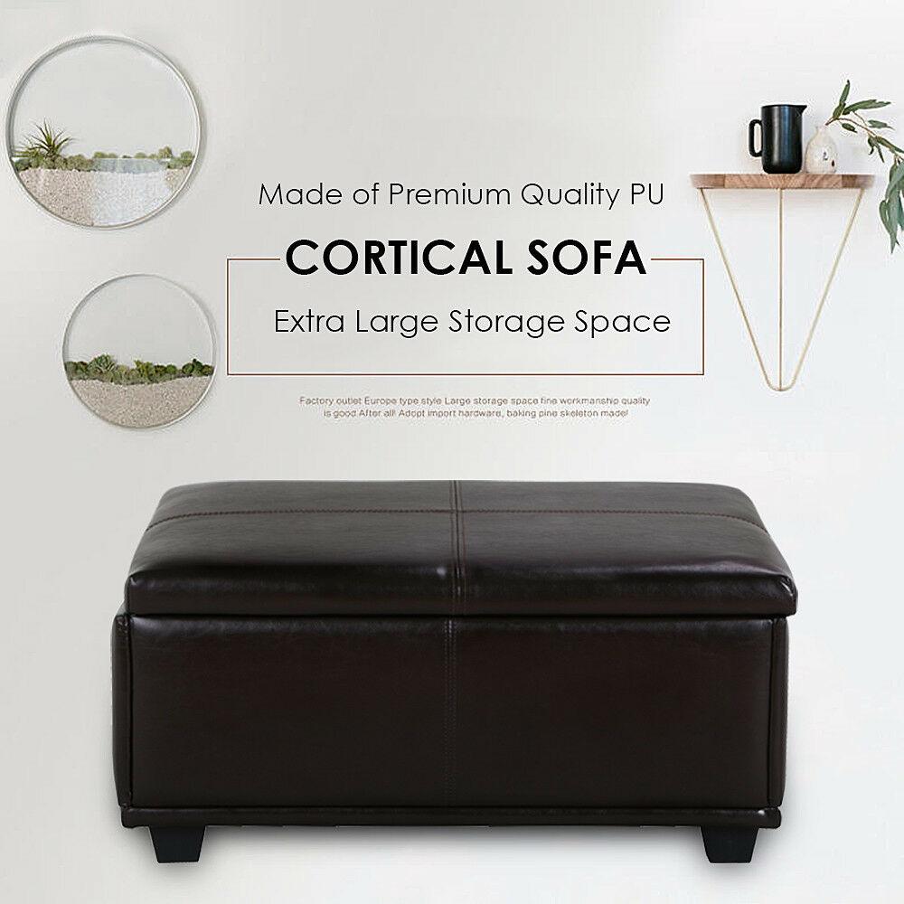 brown leather storage ottoman coffee table w tufted top. Black Bedroom Furniture Sets. Home Design Ideas