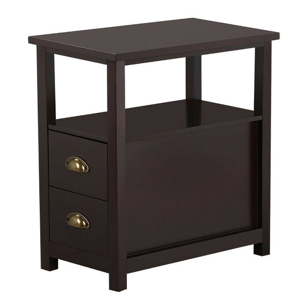 chairside side end table snack storage table stand with 2 drawer end shelf brown ebay. Black Bedroom Furniture Sets. Home Design Ideas
