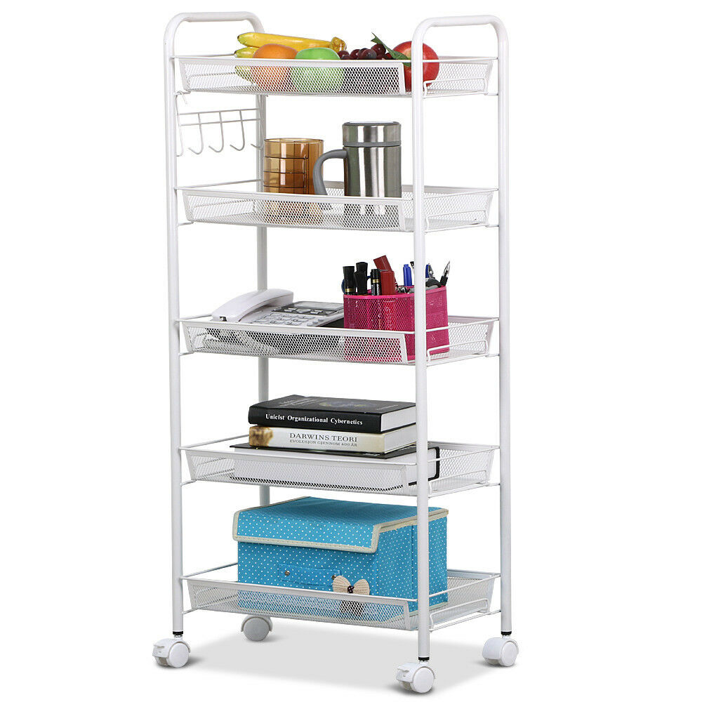 kitchen storage shelf rolling kitchen storage 5 tiers shelving trolley rack 3177