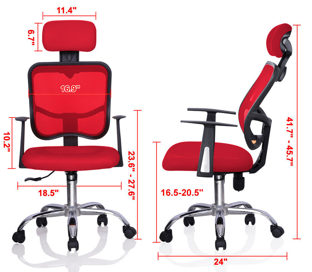 Red Adjustable Mesh Task Computer Desk Office Chair High