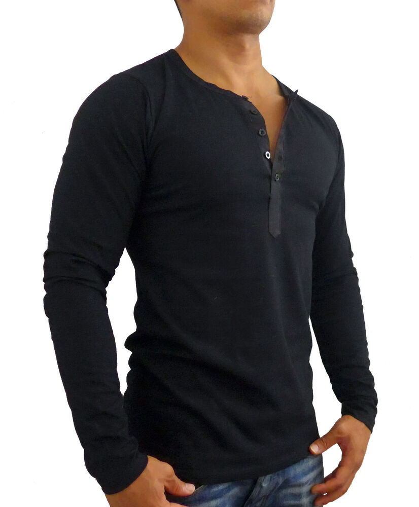 Mens black long sleeve henley style t shirt slim fit for Long sleeve fitted tee shirt