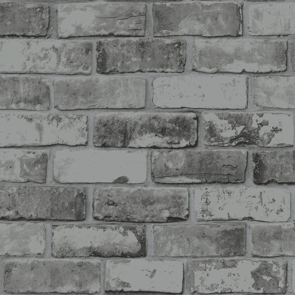 slate grey brick wallpaper realistic 3d effect rustic