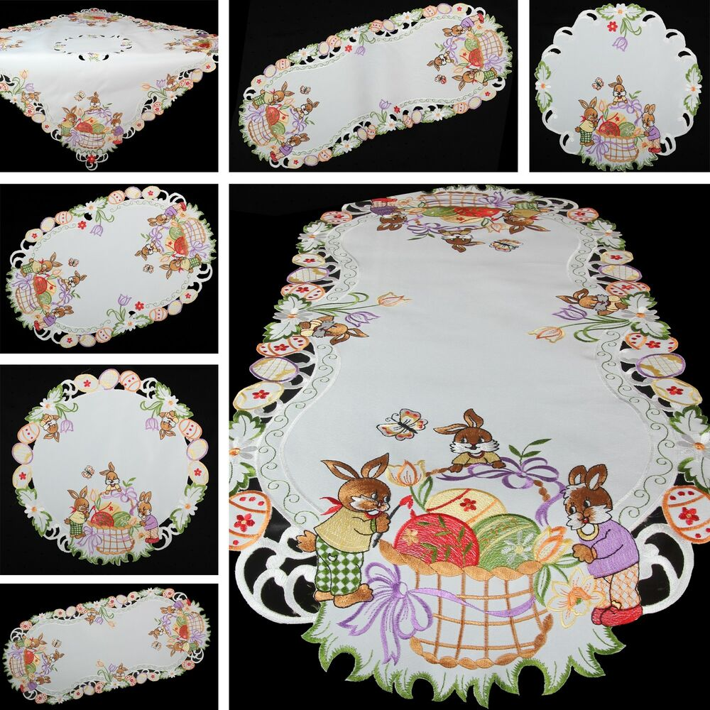 spring easter bunnies eggs embroidery table runner. Black Bedroom Furniture Sets. Home Design Ideas