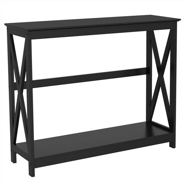 Black Console Table Curved Wood Top Shelf Sofa Couch: Wood Console Table Modern Black Accent Shelf Stand Sofa