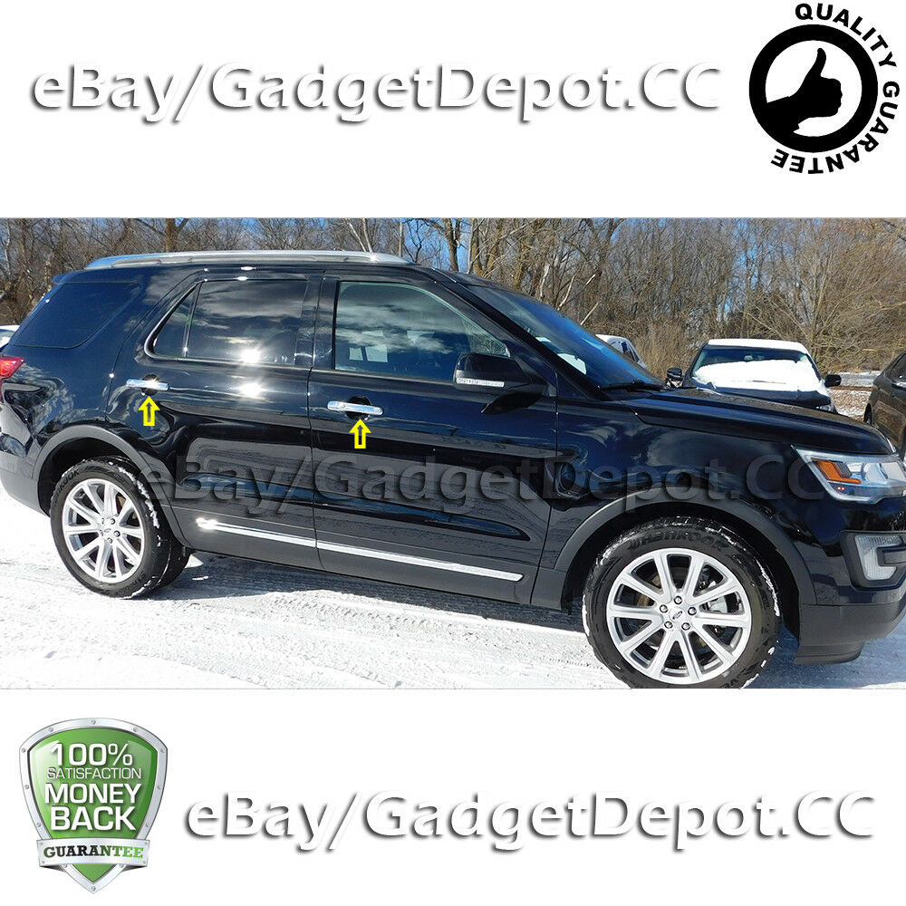 For 2011 2017 Ford Explorer Door Handle Chrome Covers W O Psg Key Smart Key Cut Ebay