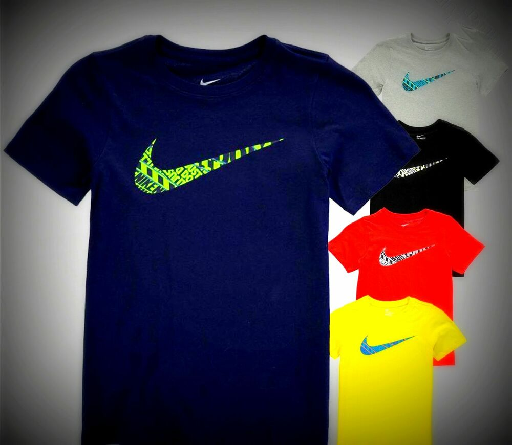 New Junior Boys Nike Cotton Swoosh Just Do It T Shirt Top Size Age 3 -7 &  7-13 | eBay