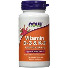 Now foods Vitamin D-3 & K-2 1000 IU 120 caps Vitamin C Healthy Bones Teeth 03/21