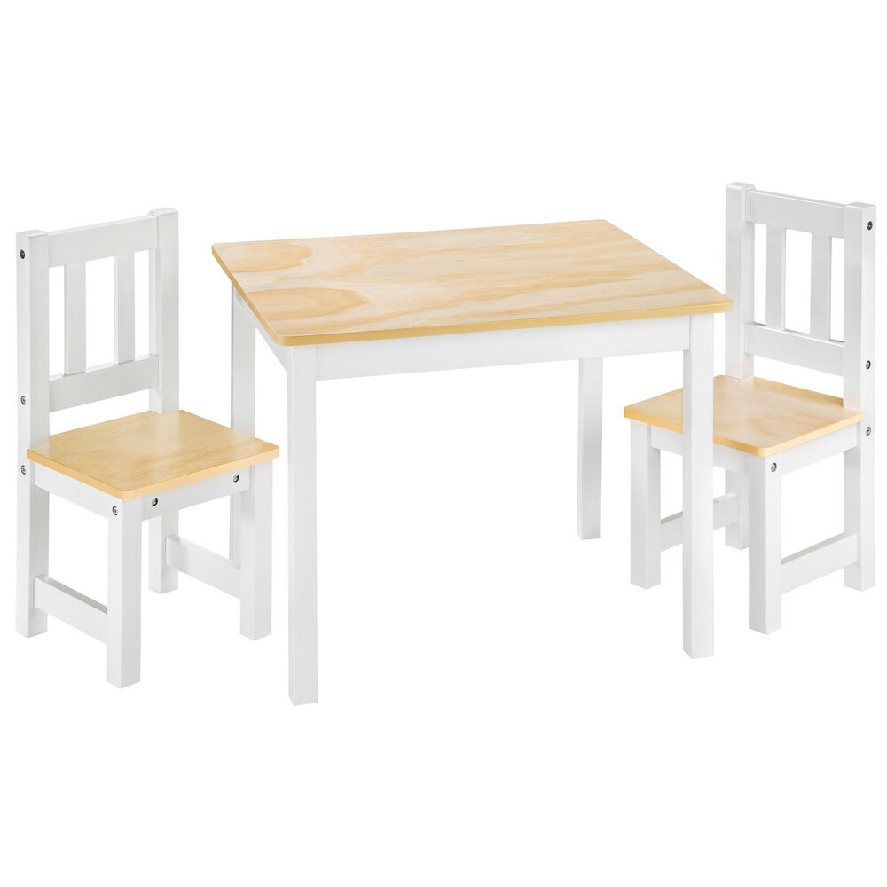 Kids table and 2 chairs set wooden children play indoor
