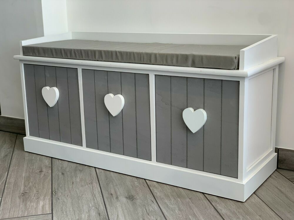 Grey White Vintage Wooden Storage Unit Bench Seat Shabby