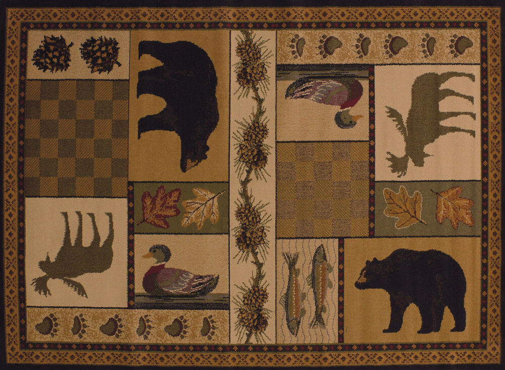 Lodge Cabin Bear Moose Fish Duck Western Pinecone Area Rug