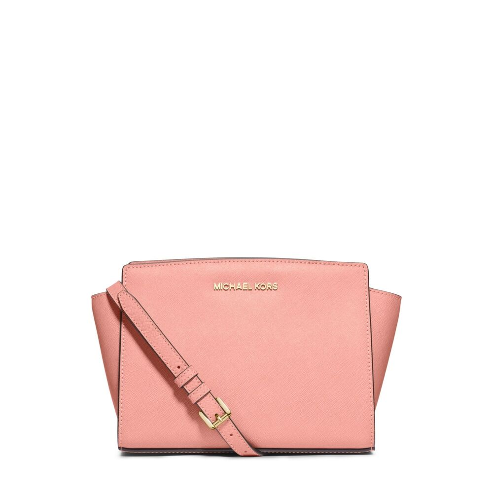 723eecb2c5fa Details about NWT Michael Kors Selma Medium Saffiano Leather Messenger  Crossbody Bag Pale Pink