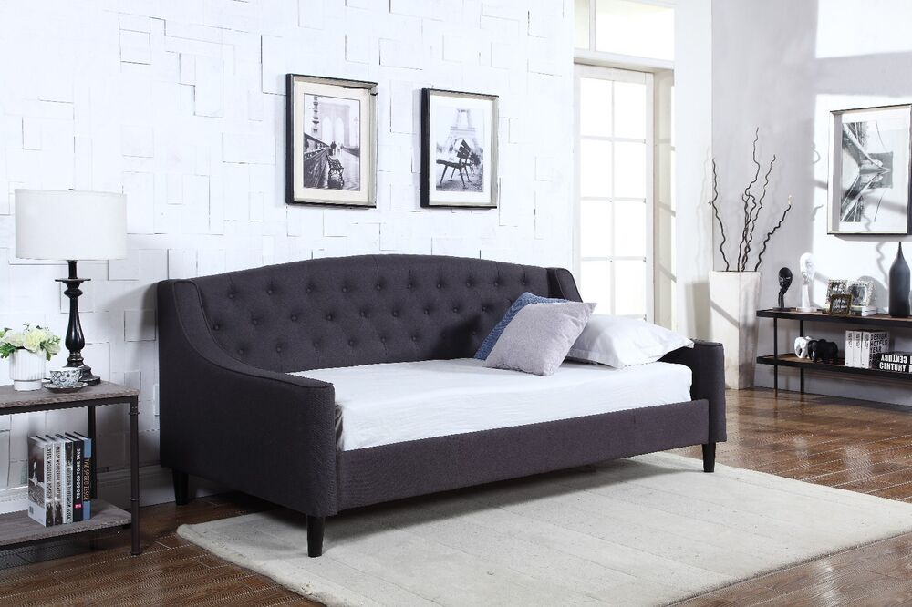 Special Offer New 3ft Fabric Dream Daybed Grey With Wooden