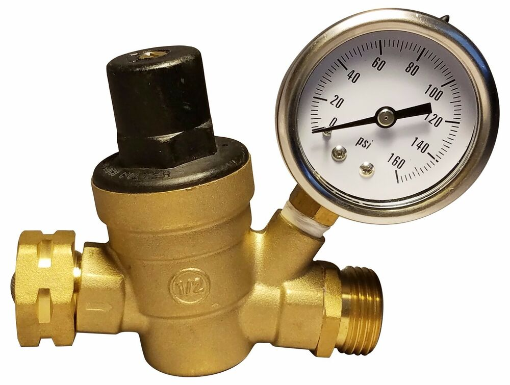 rv water pressure regulator brass lead free adjustable pressure reducer gauge ebay. Black Bedroom Furniture Sets. Home Design Ideas