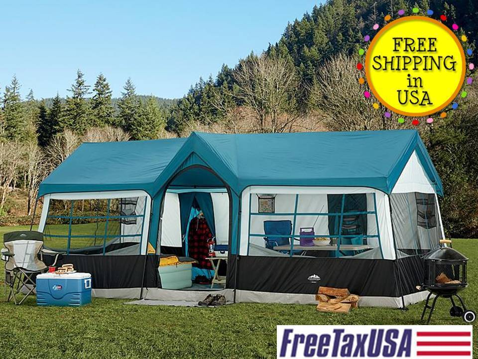 Camping Blue Instant Family Cabin 3 Room Large Sealed Tent