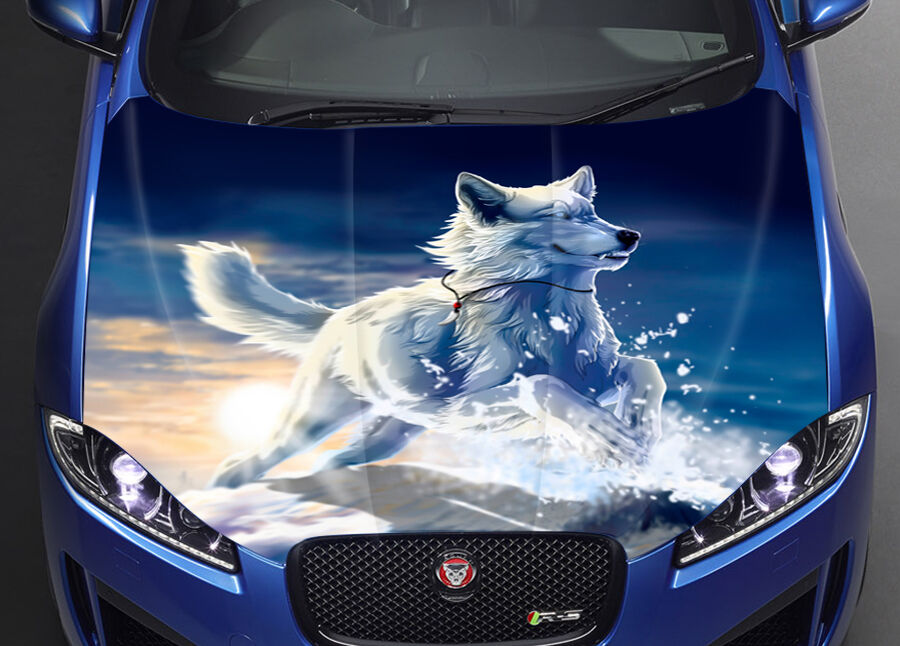 wolf winter car hood wrap full color vinyl sticker decal fit any car ebay. Black Bedroom Furniture Sets. Home Design Ideas