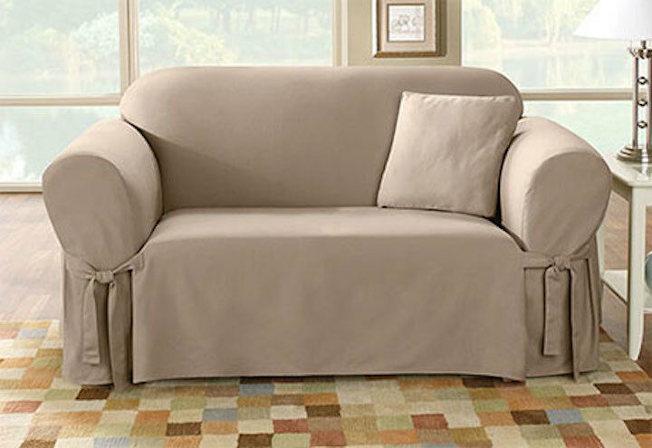 Sofa Slipcover Sure Fit Cotton Duck One Piece Box Cushion