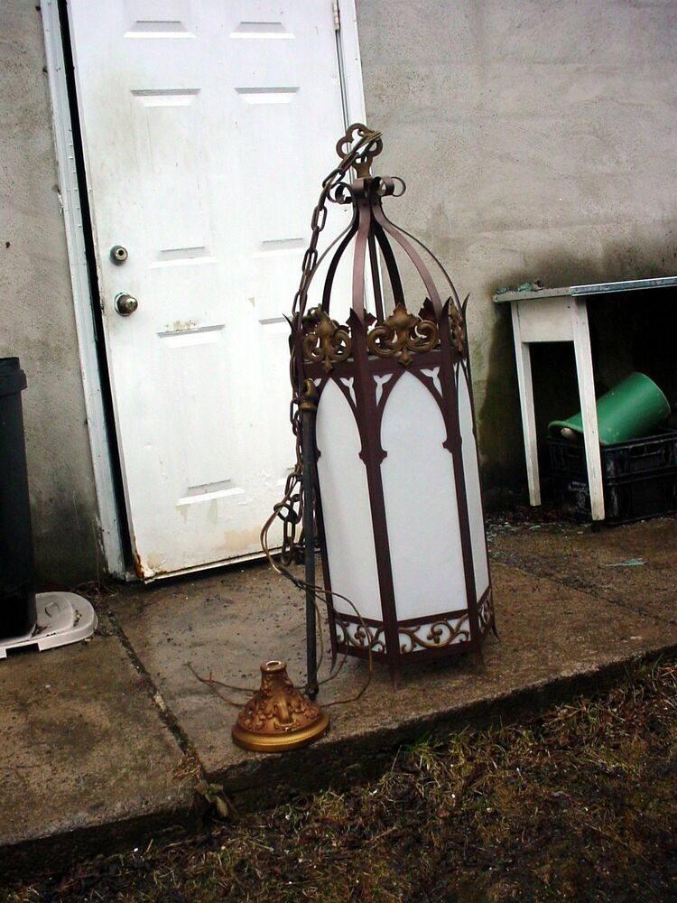 vintage large gothic style huge art deco gothic church lights with extras ebay. Black Bedroom Furniture Sets. Home Design Ideas