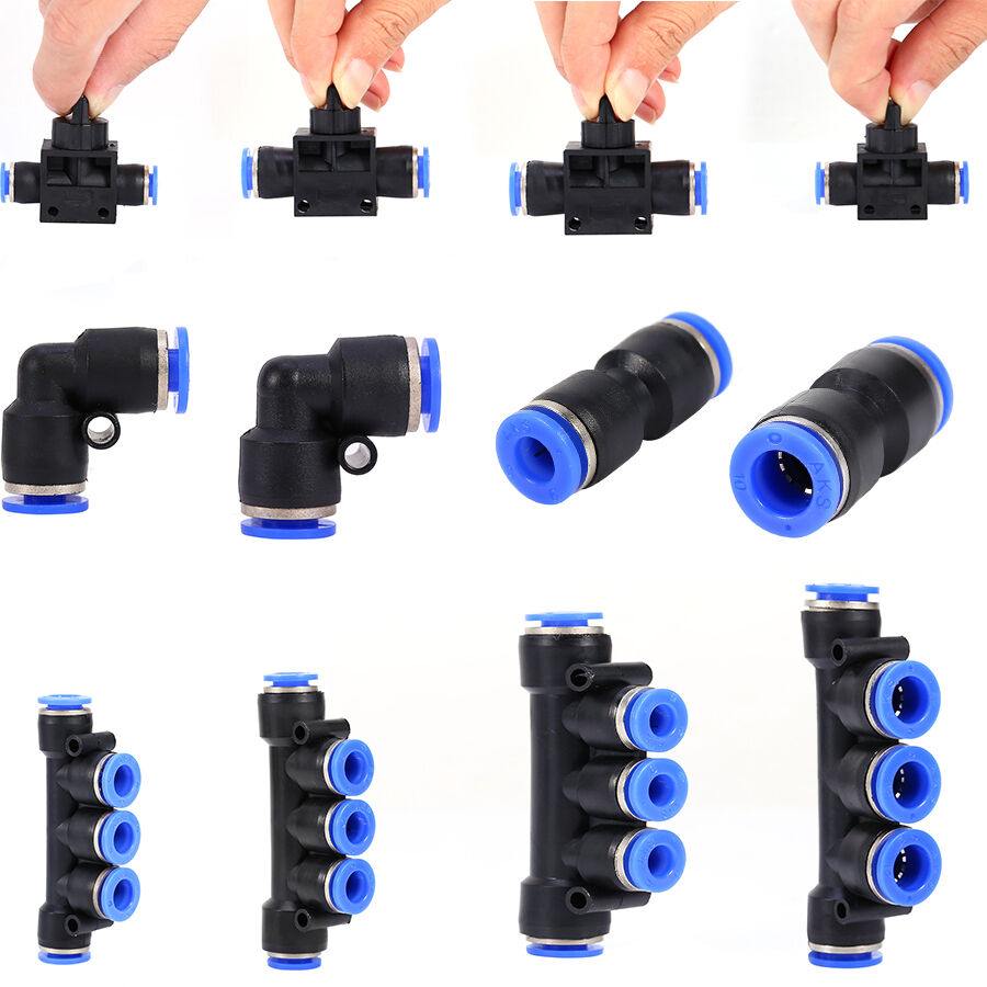 Size pneumatic push in fittings air valve water hose