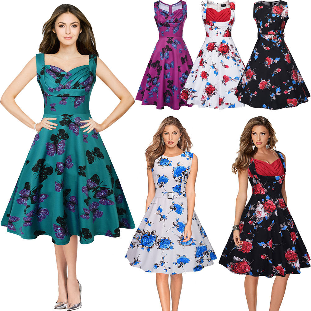 New Ladies Women Rockabilly Vintage 50s 60s Swing Party