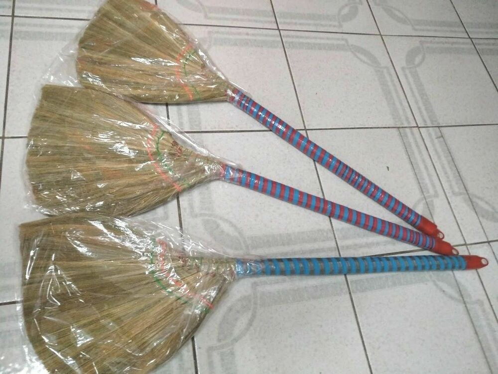 3 X All Natural Vietnamese Straw Brooms 93cm 37 Inch 100