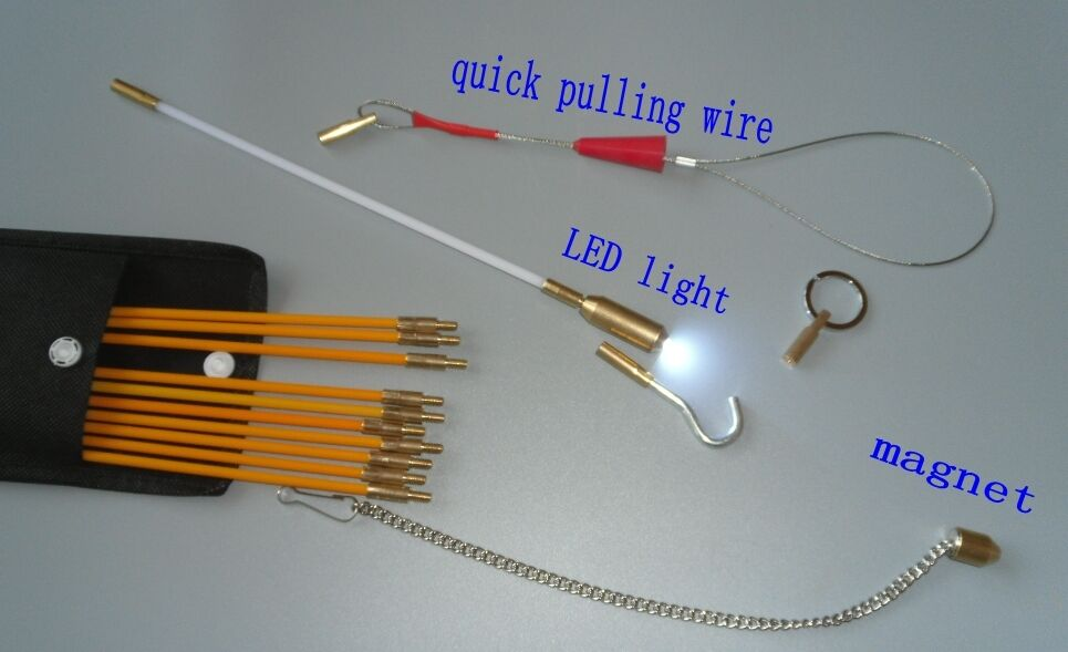 Cable access kit fiberglass push pull rod for pulling wire for Wire fishing rod