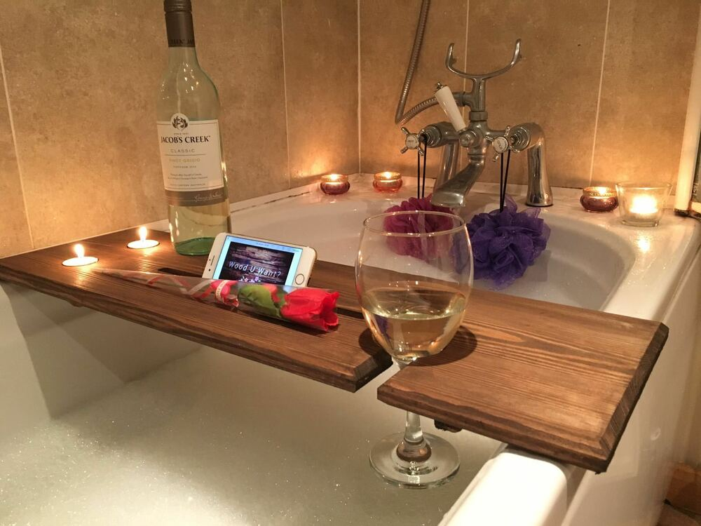 Wooden Bath Board Bath Bridge Bath Caddy Bath Rack Bathroom Wine Holder Shelf Ebay