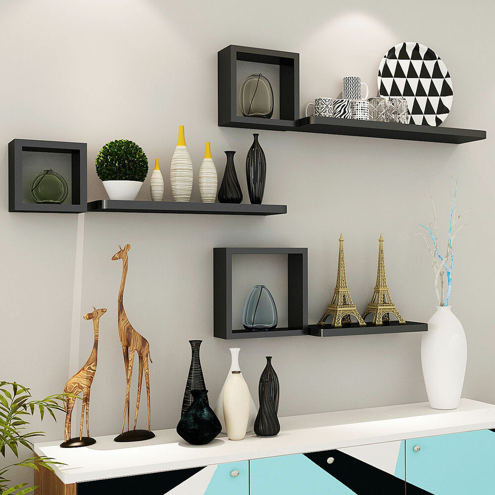 Set of 6 floating wall mounted shelves display storage for Home interior shelf designs