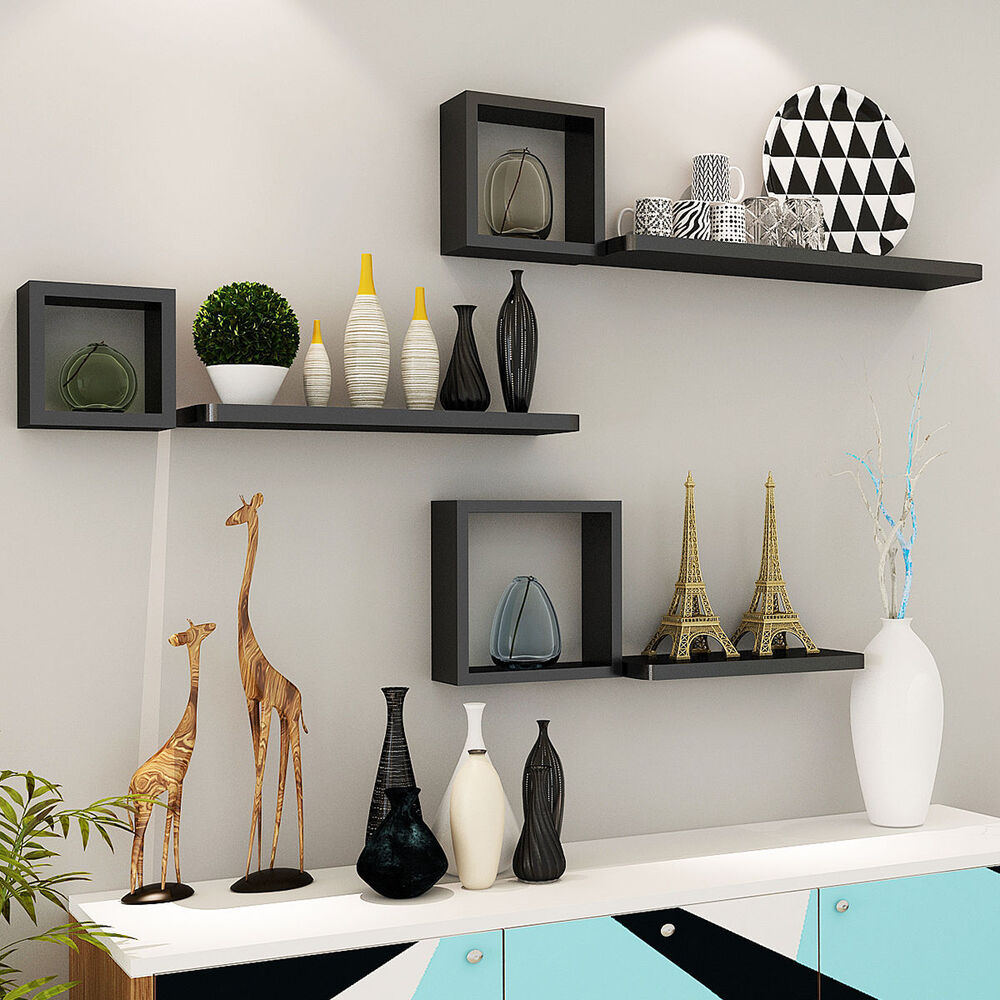 Set of 6 floating wall mounted shelves display storage home decor black new ebay - Home decorated set ...