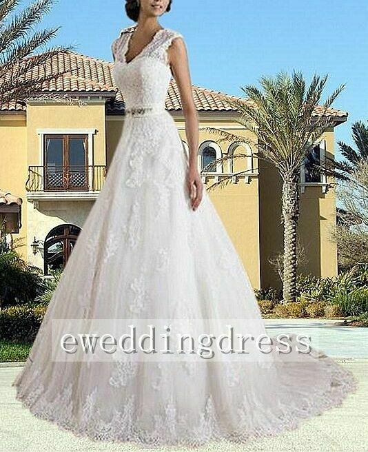 2aee06477481a Details about New White Ivory Lace A-Line V-Neck Wedding Dress Bridal Gown  Custom Size 2018
