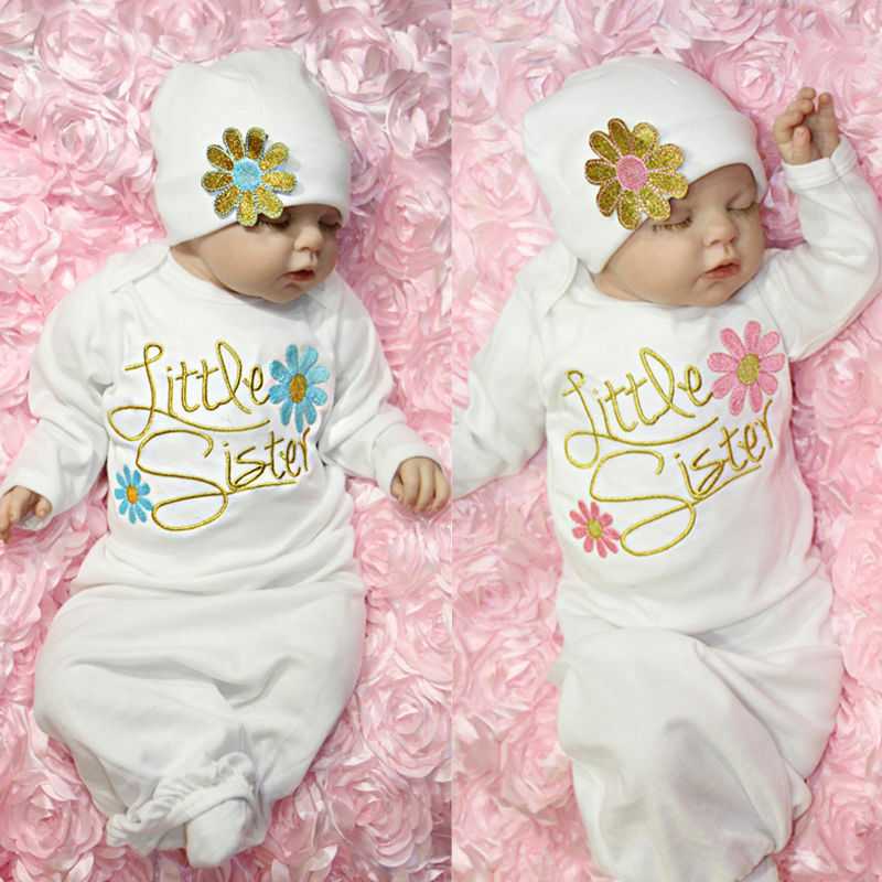 Embroidered Baby Girl Newborn girl Take Home outfit Baby Girl Gift Set Baby Gown | eBay