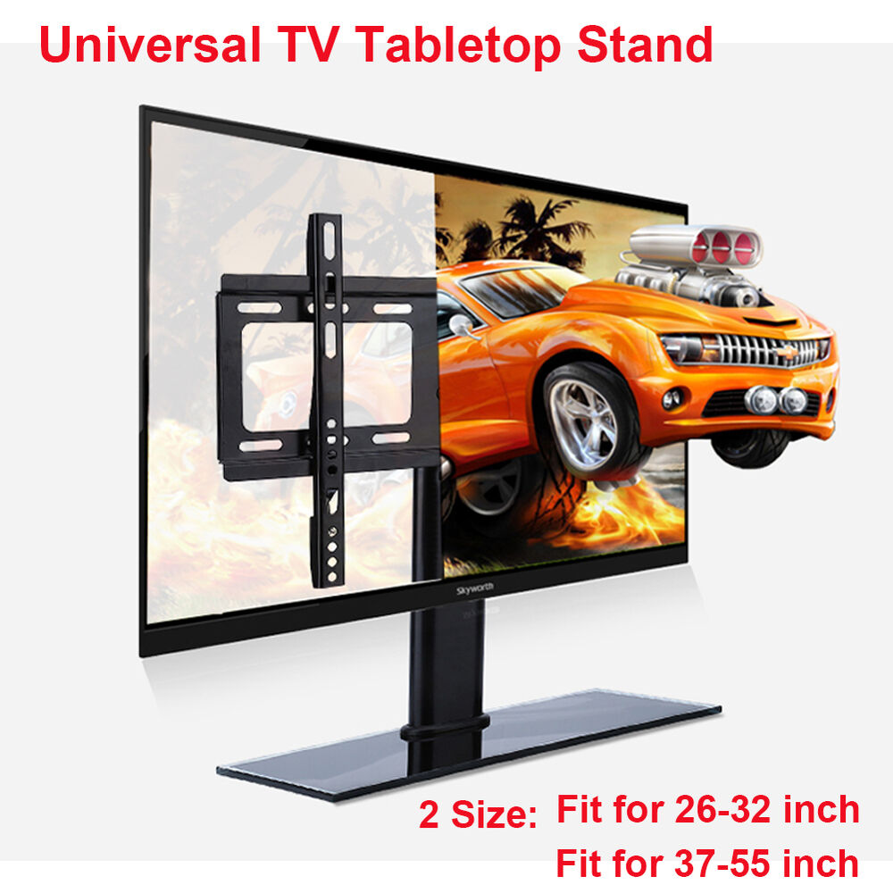 2017 universal tv stand base tv table top for 23 to 42 lcd flat screen tvs us ebay. Black Bedroom Furniture Sets. Home Design Ideas