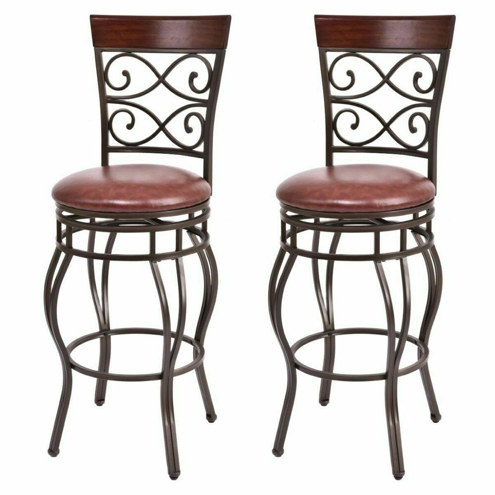 Swivel Counter Stool Bar Stool High Chair Black Kitchen: Vintage Bar Stools Swivel Padded Seat Bistro Dining