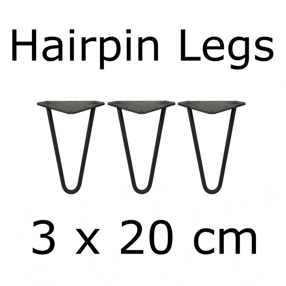 3 x 20 cm tischbeine tischkufen tischgestell couchtisch hairpin legs baumscheibe ebay. Black Bedroom Furniture Sets. Home Design Ideas