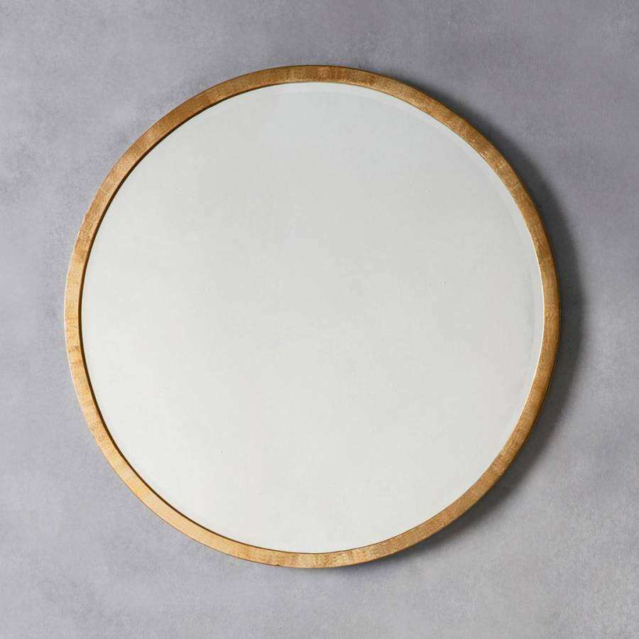 Higgins large antique gold round rustic metal wall mirror for Large round gold mirror