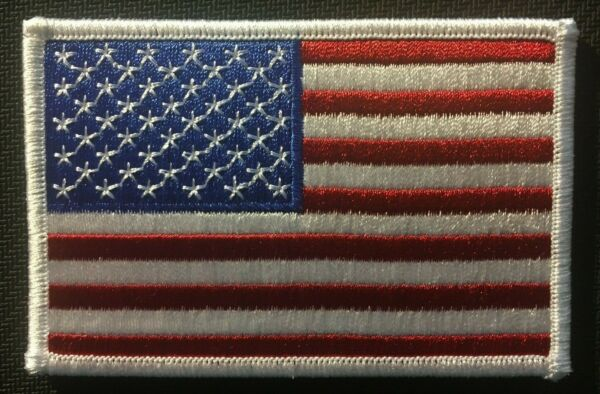 AMERICAN FLAG EMBROIDERED PATCH WHITE BORDER US UNITED STATES SHOULDER 3.5