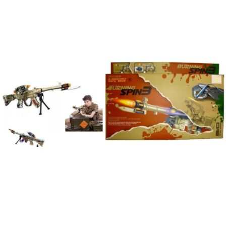 img-KIDS COMBAT SPIN 3 ELECTRONIC TOY ARMY GUN RIFLE WITH SOUNDS LIGHTS VIBRATION