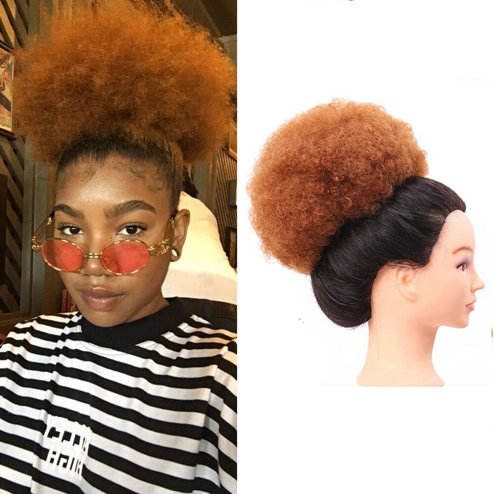 8 Short Curly Ponytail Afro Women Hair Buns Clip In Puff