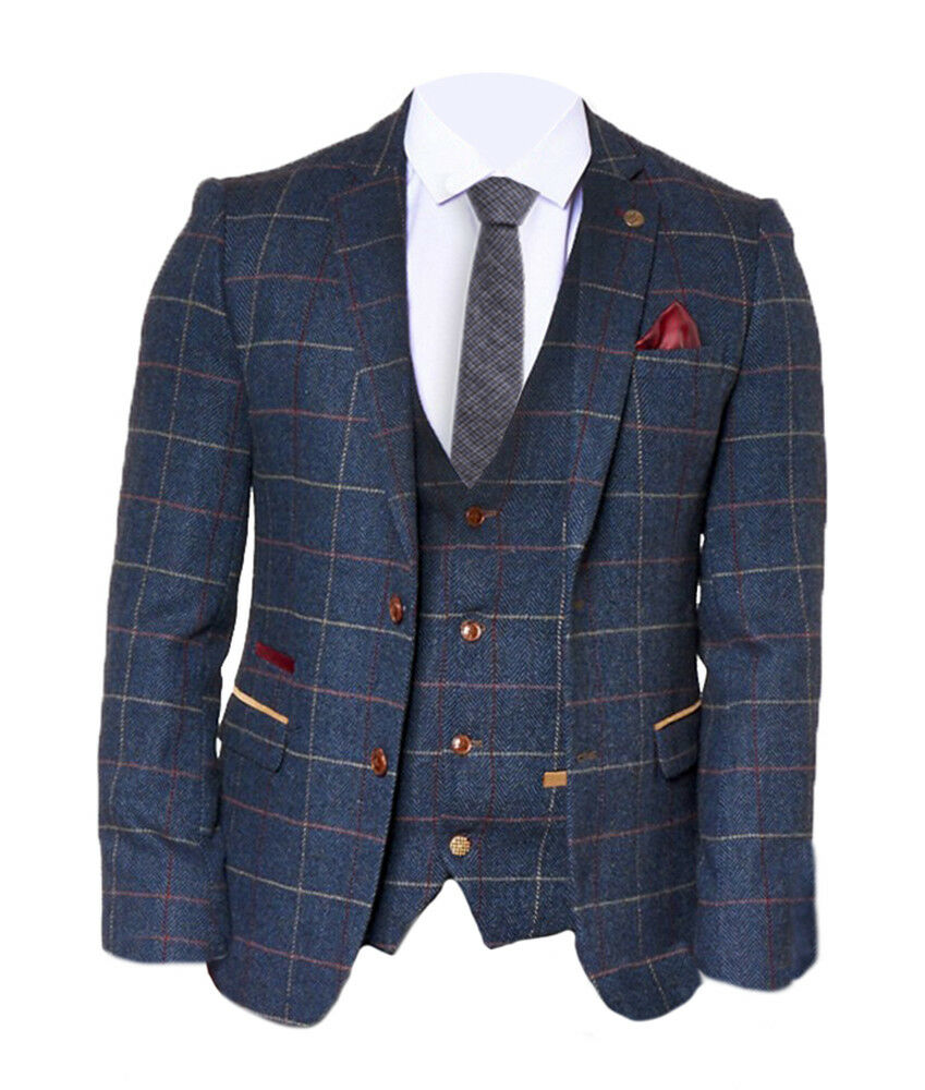 bfe77778def8 Details about Mens Marc Darcy Check Wool Look Blazer Jacket Eton - Blue