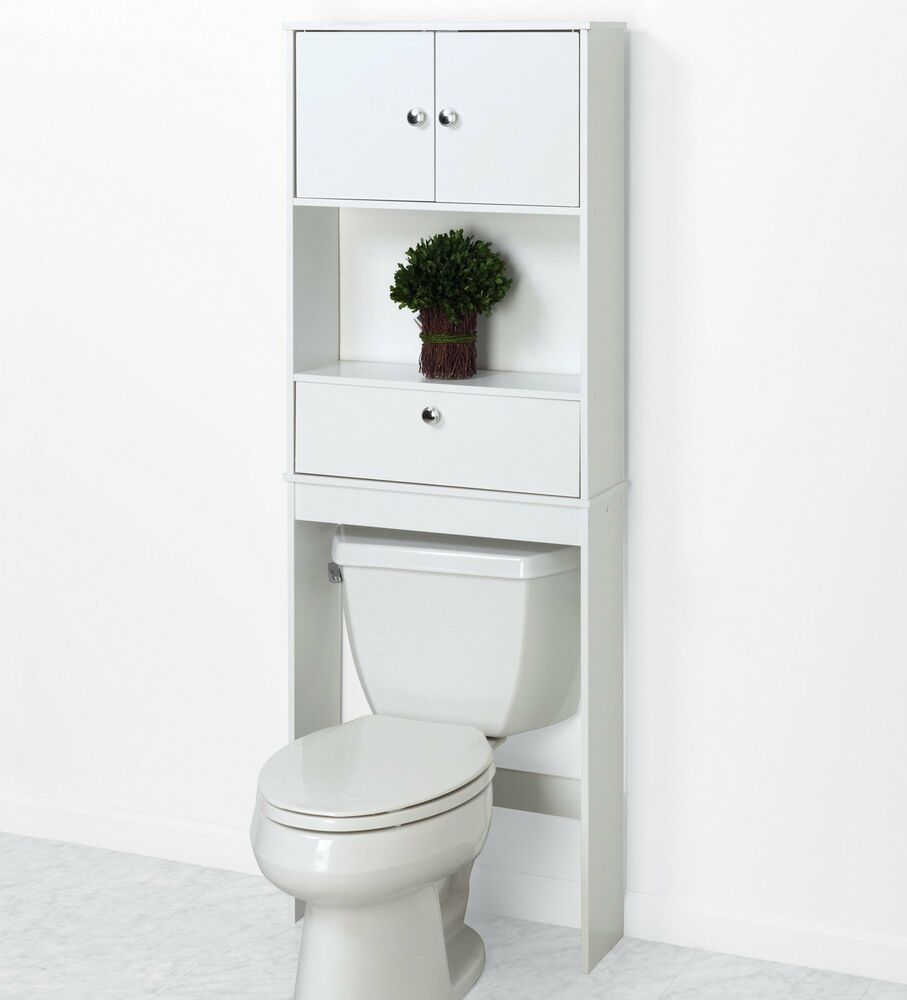 Over The Toilet Cabinet Bathroom Storage Wood Space Saver Shelf ...