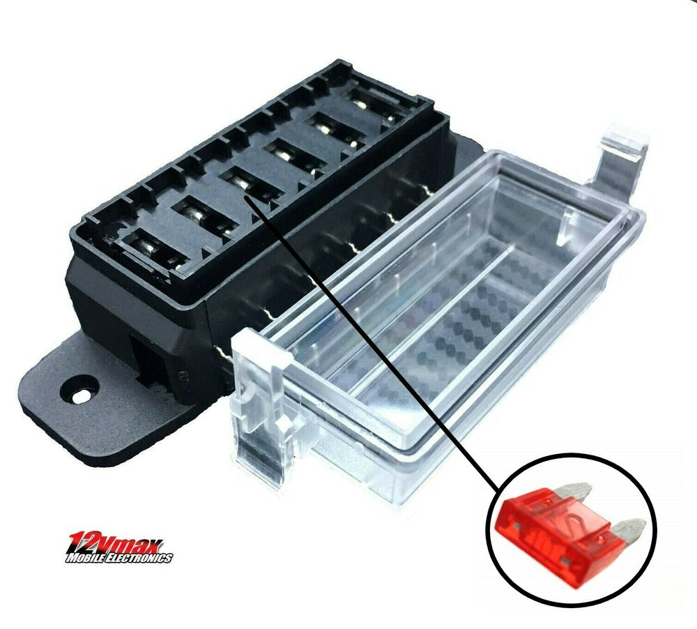 1pc 6 Way Dc32v 12v Circuit Blade Fuse Box Block Fuse