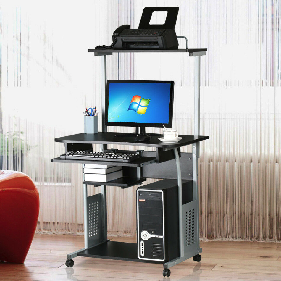 Rolling computer desk w printer shelf laptop writing - Computer and study table designs for home ...