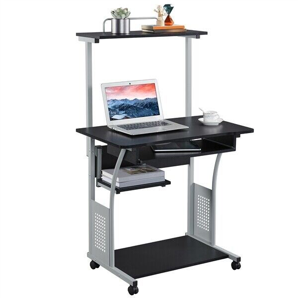 Computer Desk W Printer Shelf Stand Rolling Laptop Home