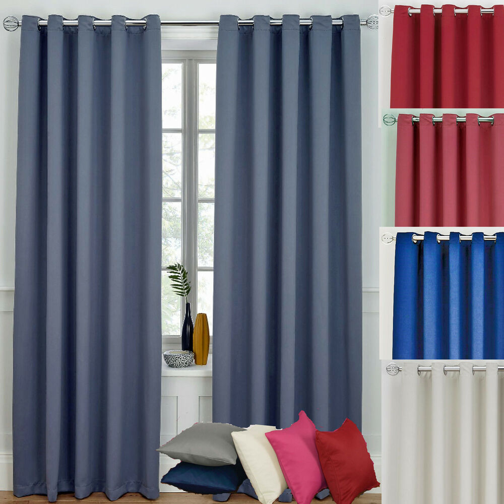 Ready Made Curtains Ring Top Eyelet Blackout Blue Grey