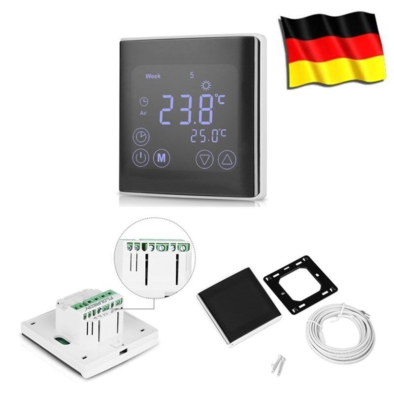 lcd digital thermostat touchscreen raumthermostat. Black Bedroom Furniture Sets. Home Design Ideas