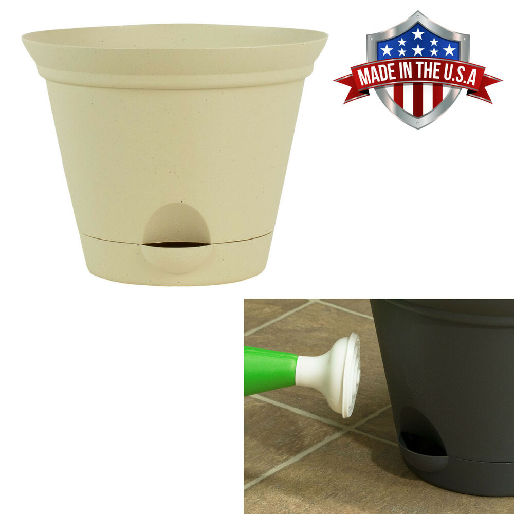 Latte Quartz Self Watering Plastic Planters Flare Flower